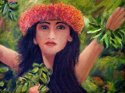 Hula Dancer Kahiko #422 Art Print by Donald k Hall