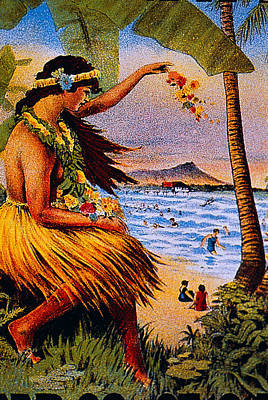 Painting - Hula Flower Girl 1915 by Hawaiian Legacy Archive - Printscapes