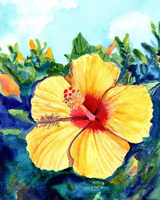 Painting - Hula Girl Hibiscus by Marionette Taboniar