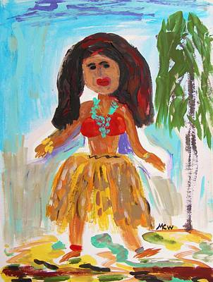 Hula Girl Art Print by Mary Carol Williams