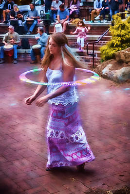 Park Scene Digital Art - Hula Hooping To The Drums by John Haldane