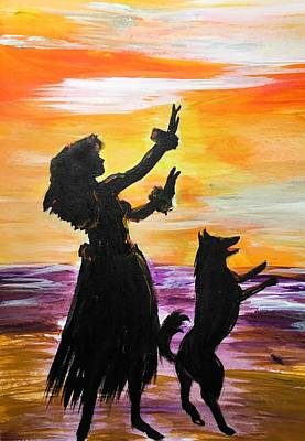 Painting - Hula Husky by Karen Ferrand Carroll