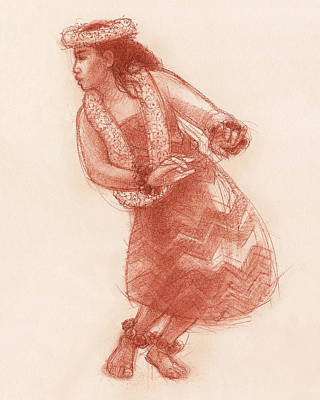 Drawing - Hula Waikoloa by Judith Kunzle
