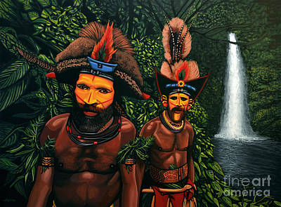 Waterfalls Painting - Huli Men In The Jungle Of Papua New Guinea by Paul Meijering