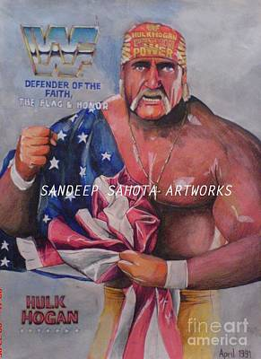 Orlando Bloom Wall Art - Painting - Hulk Hogan by San Art Studio