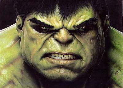 Avengers Drawing Drawing - Hulk Realistic Drawing by Adilson Silva