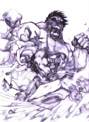 Thor Drawing - Hulk V Thor by Michelangelo Adamantiel