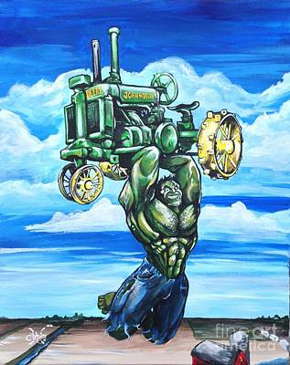 The Incredible Hulk Painting - Hulk With John Deere by Tyler Haddox