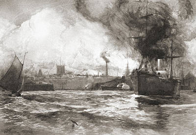 Hull From The Humber. Kingston Upon Art Print by Vintage Design Pics