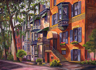 Historic Street Painting - Hull Street In Chippewa Square Savannah by Jeff Pittman