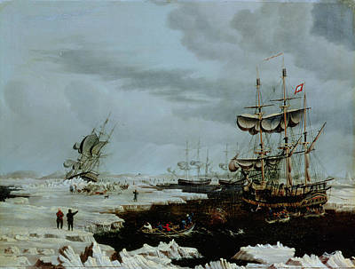 Hull Whalers In The Arctic  Print by Thomas A Binks
