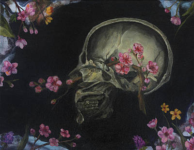 Painting - Human Skeleton With Flowers by Elise Procter