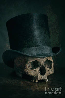 Photograph - Human Skull Wearing A Top Hat by Lee Avison