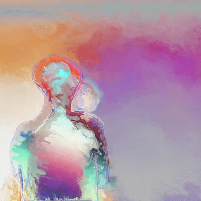 Digital Art - Humanoid Couple On Cloud Nine by Eduardo Tavares