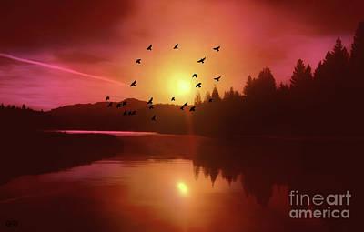 Flock Of Bird Mixed Media - Hume  Lake Sunset by KaFra Art