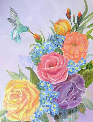 Painting - Humingbird Bird Delight by Carol L Miller