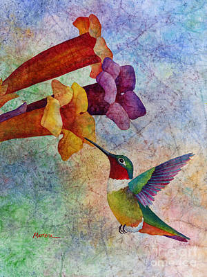 Vines Painting - Hummer Time by Hailey E Herrera