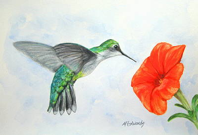 Painting - Hummer With Orange Bloom by Marna Edwards Flavell