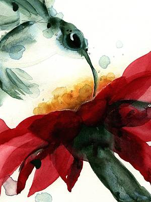 Hummingbird Painting - Hummer With Red Flower by Dawn Derman