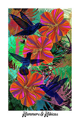 Digital Art - Hummers And Hibicus 24x16 by Sandra Selle Rodriguez