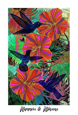 Digital Art - Hummers And Hibiscus 24x16 by Sandra Selle Rodriguez