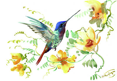 Painting - Hummibgbird And Yellow Flowers by Suren Nersisyan