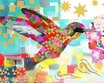 Art Deco Mixed Media - Humming Bird by Claudia Schoen