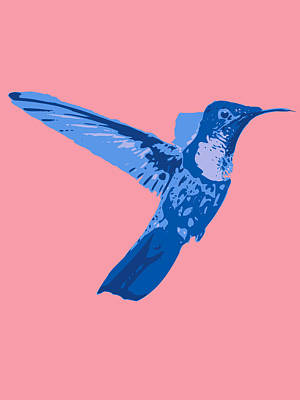 Digital Art - humming bird Contours blue by Keshava Shukla