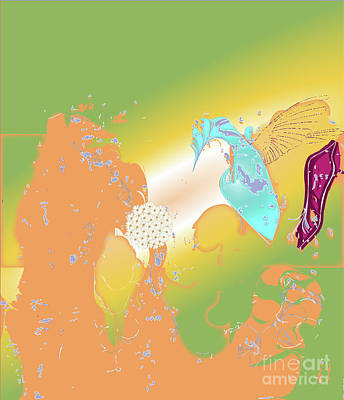 Wall Art - Digital Art - Humming Bird - Abstract Art Print On Canvas - Digital Art - Fine Art Print - Decor by Ron Labryzz