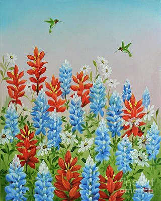 Painting - Humming Birds Feeding On Wildflowers by Jimmie Bartlett