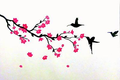 Sakura Painting - Humming Birds by Silpa Saseendran