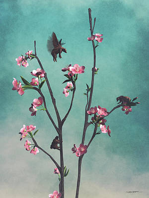 Sakura Digital Art - Hummingbears by Cynthia Decker