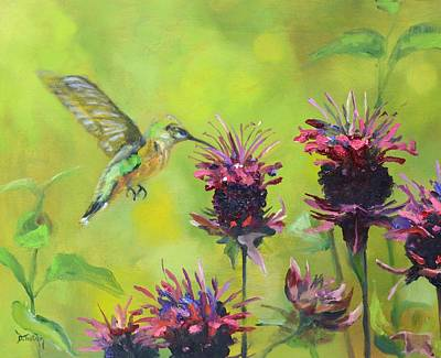 Painting - Hummingbird And Bee Balm by Donna Tuten