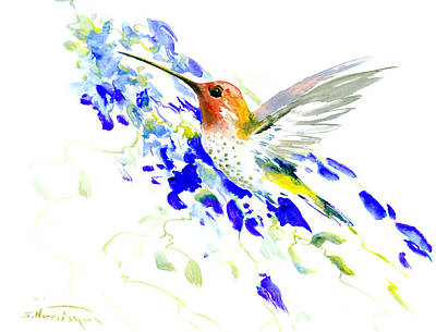 Flying Birds Drawing - Hummingbird And Blue Flowers by Suren Nersisyan