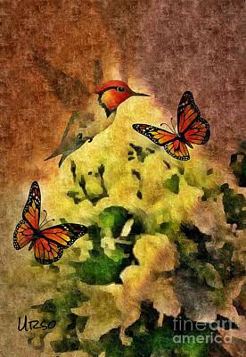 Digital Art - Hummingbird And Butterflies by Maria Urso