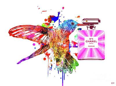 Mixed Media - Hummingbird And Chanel No. 5 by Daniel Janda