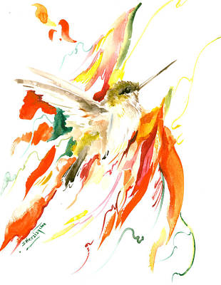 Hummingbird Painting - Hummingbird And Flame Colored Flowers by Suren Nersisyan