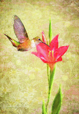 Art Print featuring the digital art Hummingbird And Flower by Christina Lihani