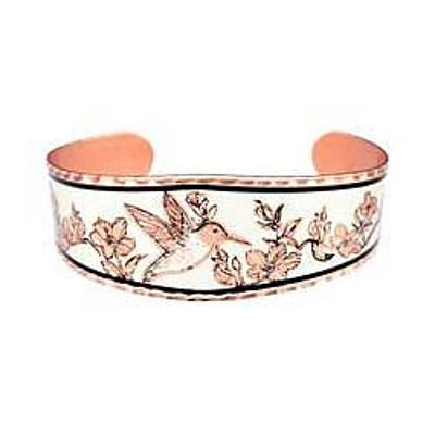 Hummingbird And Flowers Copper Bracelet Original