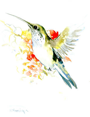 Hummingbird Drawing - Hummingbird And Flowers by Suren Nersisyan