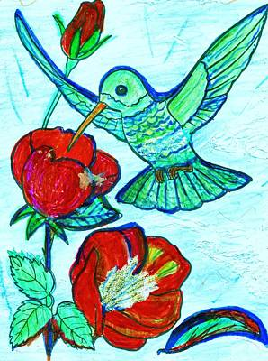 Mixed Media - Hummingbird And His Sippie-cup by Anne-elizabeth Whiteway