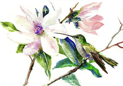 Painting - Hummingbird And Magnolia Flower by Suren Nersisyan