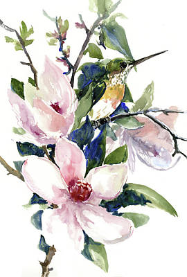 Painting - Hummingbird And Magnolia Flowers by Suren Nersisyan