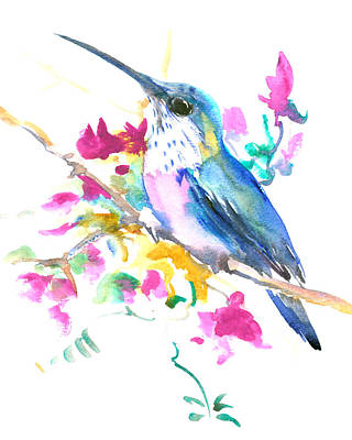 Hummingbird Drawing - Hummingbird And Pink Purple Flowers by Suren Nersisyan