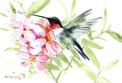 Painting - Hummingbird And Plumeria by Suren Nersisyan