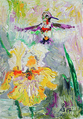 Painting - Hummingbird And Yellow Bearded Iris Summer Splendor by Ginette Callaway