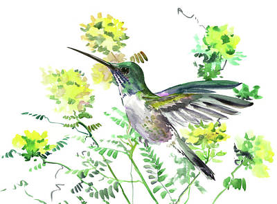 Painting - Hummingbird And Yellow Flowers by Suren Nersisyan