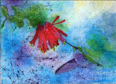 Painting - Hummingbird Batik Watercolor by Conni Schaftenaar