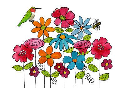 Hummingbird Bee And Flowers Art Print by Blenda Studio