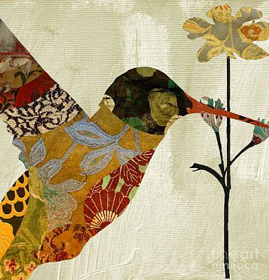 Tapestries - Textiles Painting - Hummingbird Brocade IIi by Mindy Sommers
